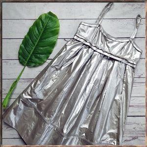 ROBERT RODRIGUEZ Metallic Strap Babydoll Dress, 6